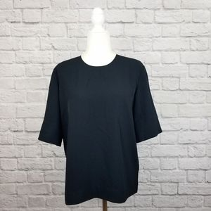 Everlane GoWeave black short sleeve zipper top